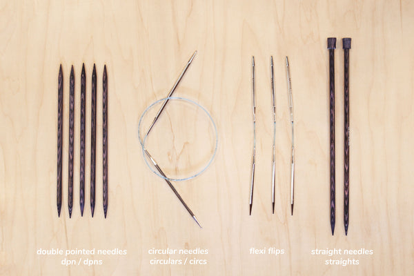 types of needles: double pointed, circular, and straight