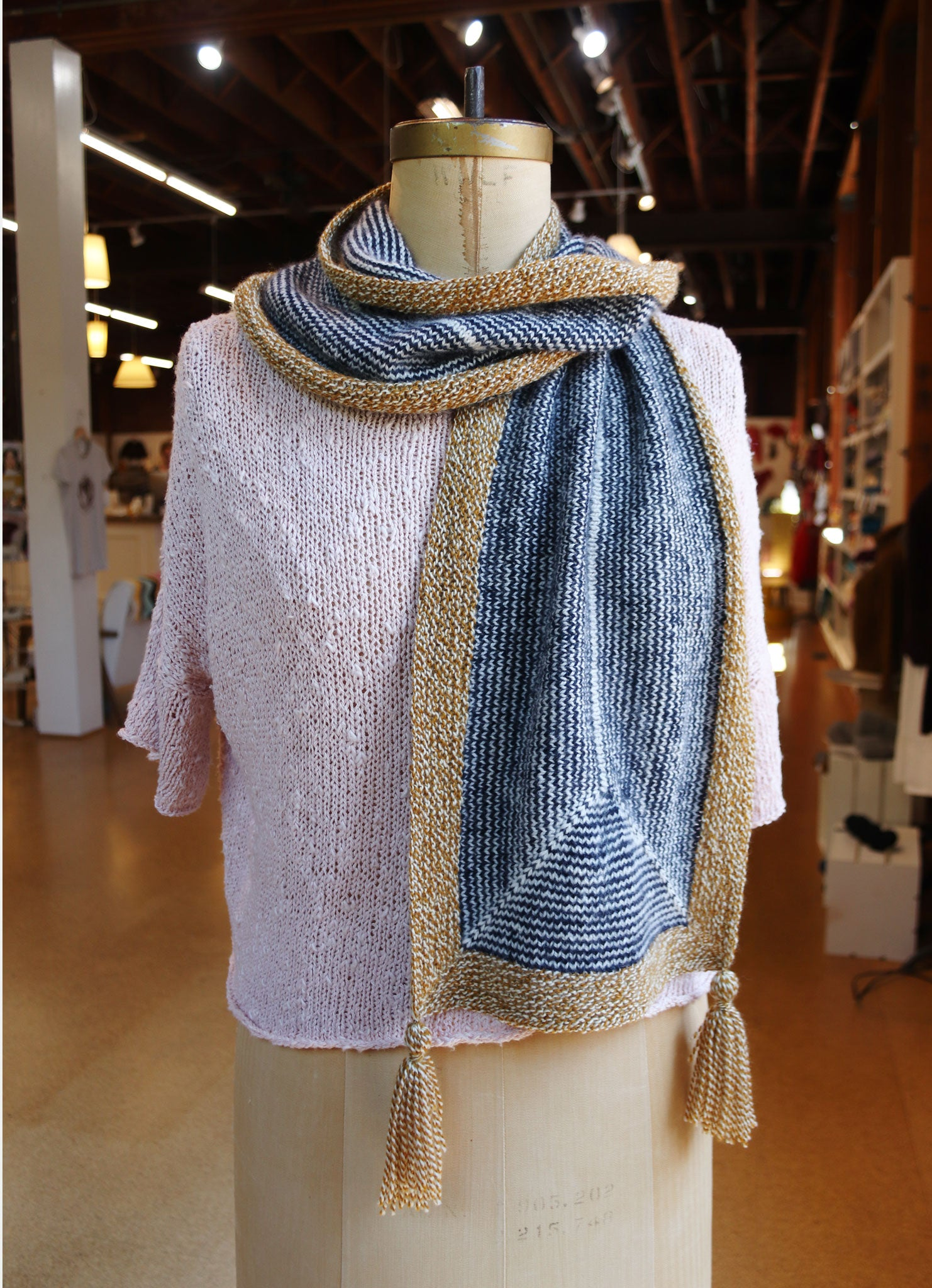 2019 Knitted Yarn Hop Pattern: Striped Longways Scarf No. 1