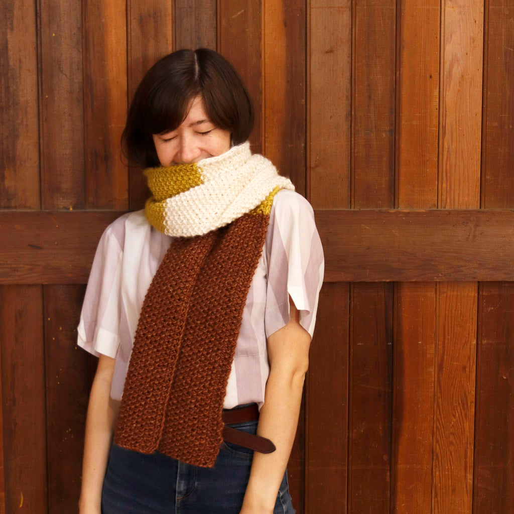 Striped Seed Stitch Scarf