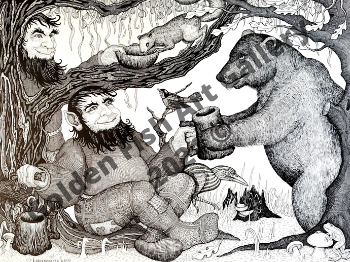 Gnomes & Bear Art Print by John Longendorfer