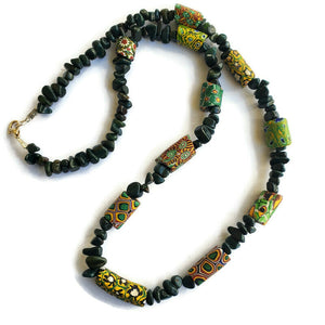 Venetian Trade Bead Necklace with Green Jasper