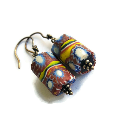 Venetian Glass Trade Bead Earrings