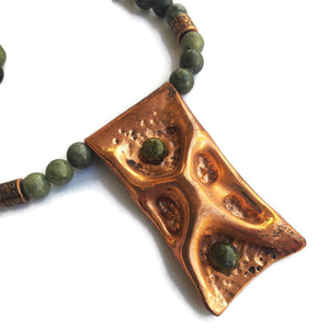 Copper Pendant with Green Lace Agate Necklace