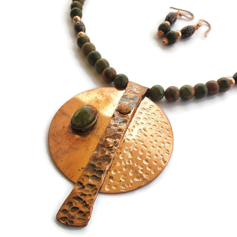 Copper Pendant with Unakite Necklace
