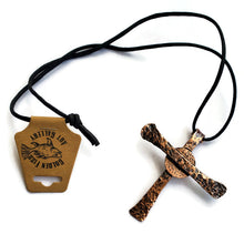 Hammered Copper Cross Pendant Necklace