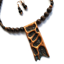 Forged Copper Pendant Necklace with Matching Earrings