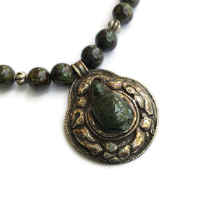 Antique Tibetan Nephrite Jade & Silver Pendant Necklace