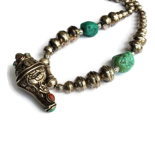 Antique Tibetan Silver Pendant Necklace with Turquoise