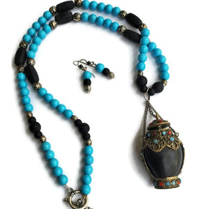 Antique Tibetan Snuff Bottle Necklace with Turquoise