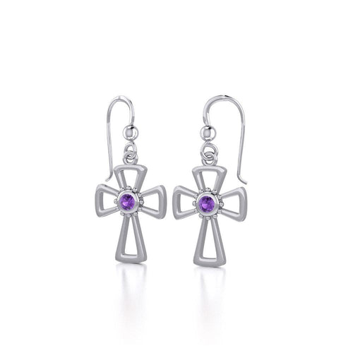 Silver Cross Earrings with Genuine Amethyst by Peter Stone