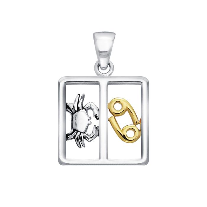 Sterling Silver Cancer Zodiac Pendant by Peter Stone