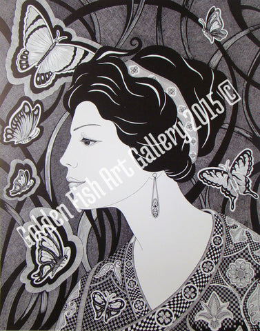 Butterfly Lady- Art Print by John Longendorfer