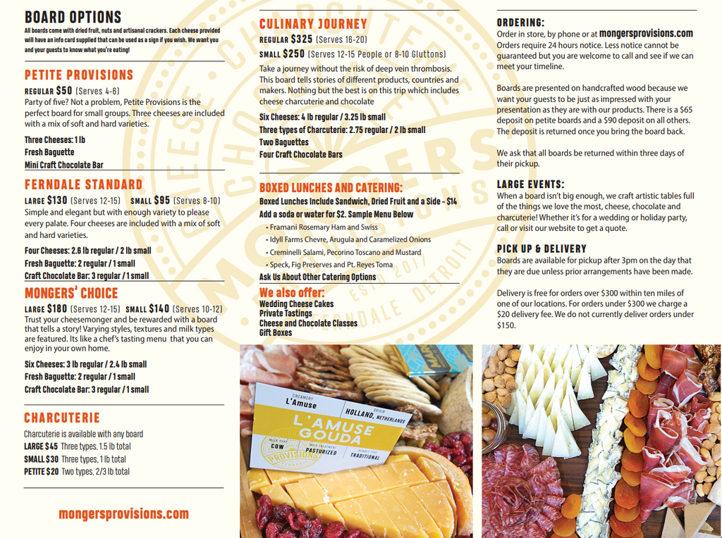 Cheese Charcuterie Board Boxed Lunch Menu