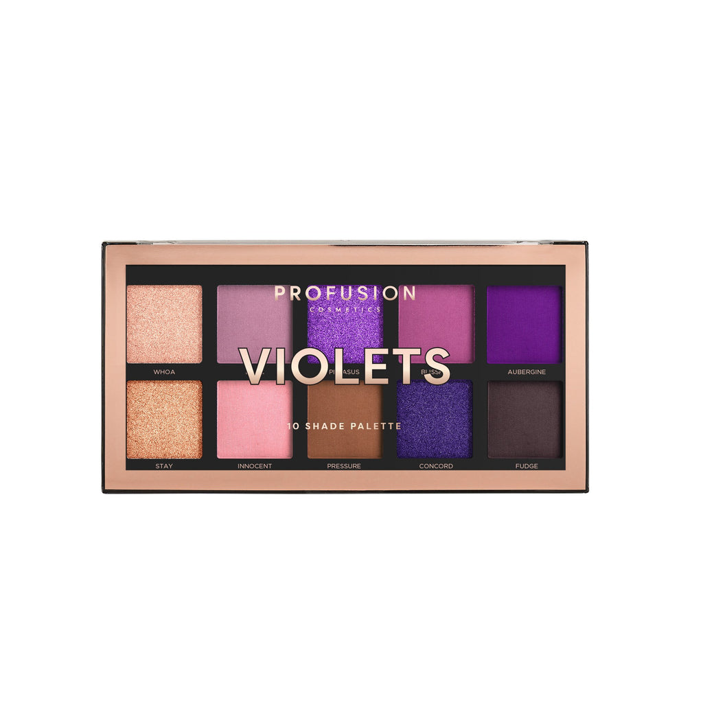 10-shade palette in a range of light to deep and bright purple shades