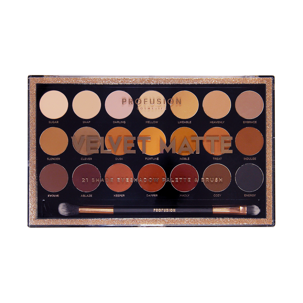 21 Shade Matte Eyeshadow Palette in a mix of essential neutrals, pinks, rusty oranges and deep smoky shades. Includes Dual-Ended Brush.