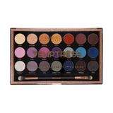 21 Shade Multi-Finish Eyeshadow Palette in a mix of warm neutrals to multi-finish purples, blues and silvers and royal smoky shades. Includes Dual-Ended Brush.