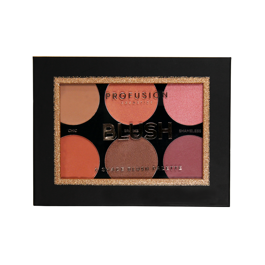 6 Shade Blush Palette in a mix of blendable and buildable multi-finish shades.