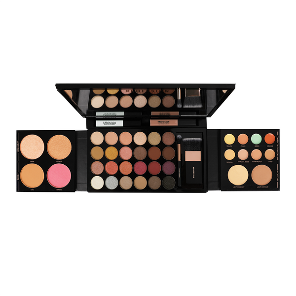42 PC Pro Makeup Kit includes: 24 multi-finish eyeshadows, 2 buildable blush shades, 2 radiant highlighters, 2 universal bronzers, 4 easy-blend correctors, 4 creamy concealers, 1 crease-free eyeshadow primer, 1 long-lasting matte lip creme, 1 Pro Series eyeshadow brush and 1 face brush.