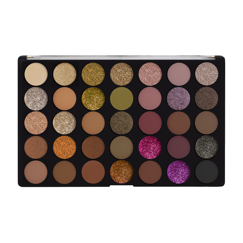 35-shade palette in a range of golden neutrals to deep berries and glittery shades