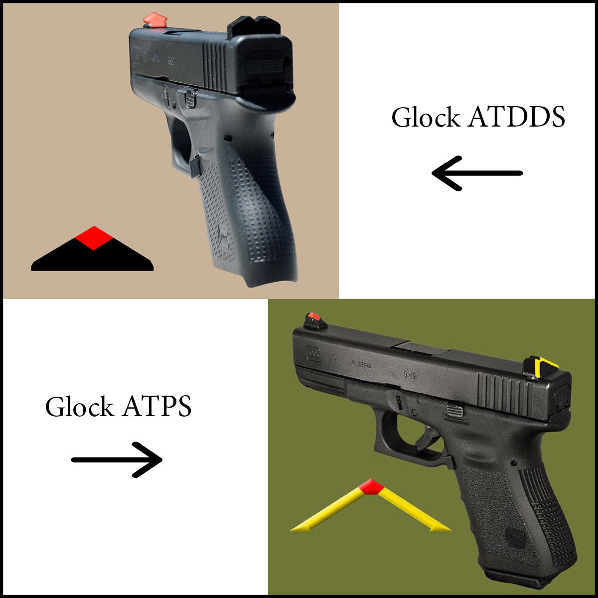 ATDDS & ATPS GLOCK- (ALL MODELS, CALIBERS AND GENERATIONS, INLCUDING GLOCK 40, 41, 42, 43)  (professional installation usually not required)