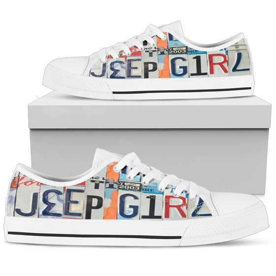 JeepGirl  License Plate Tennis Shoe - White-ish