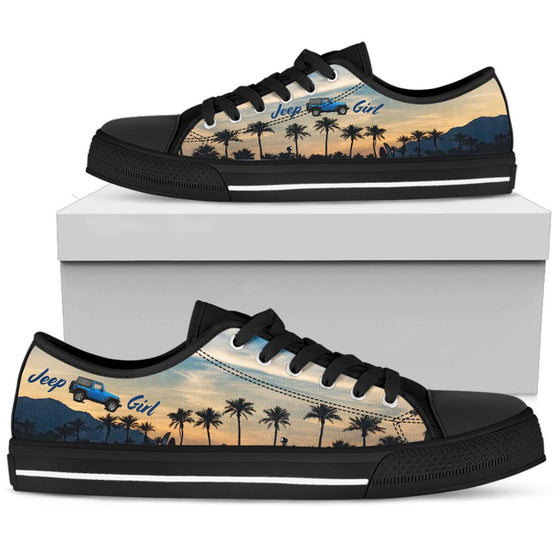 JeepGirl Black Tennis Shoe - Beach Sunset