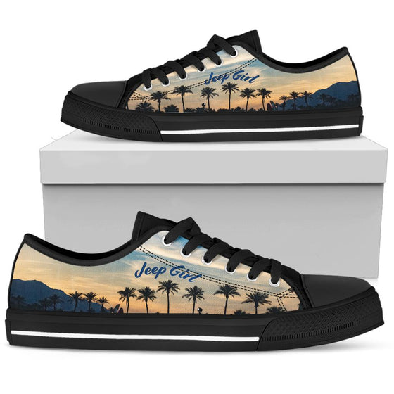 Jeep Girl Tennis Black Shoe - Beach Sunset