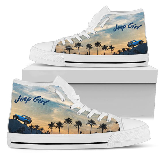 JeepGirl Blue Jeep-Hi Top White Tennis Shoe
