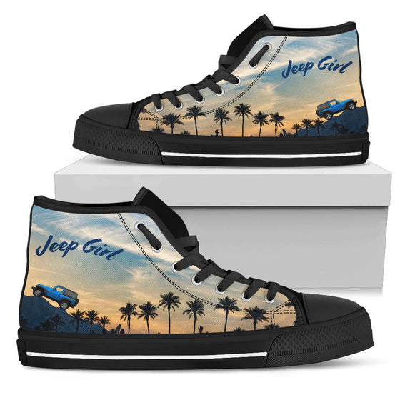 JeepGirl Blue Jeep-Hi Top Black Tennis Shoe