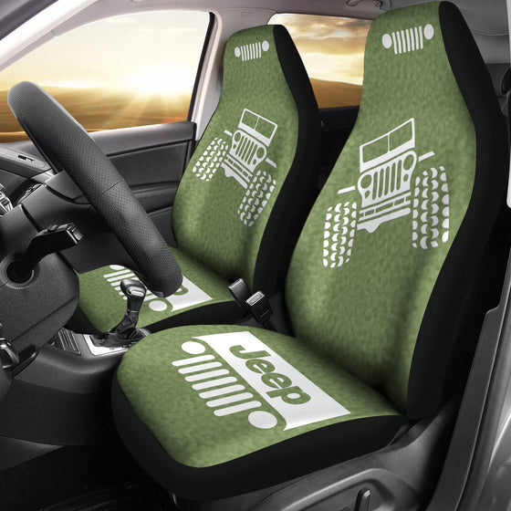 Jeep OffRoad - Car Seat Cover OliveDrab/White ColdPress Pattern