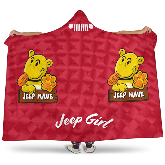 JeepGirl Hooded Blanket-Jeep Wave Red Pattern