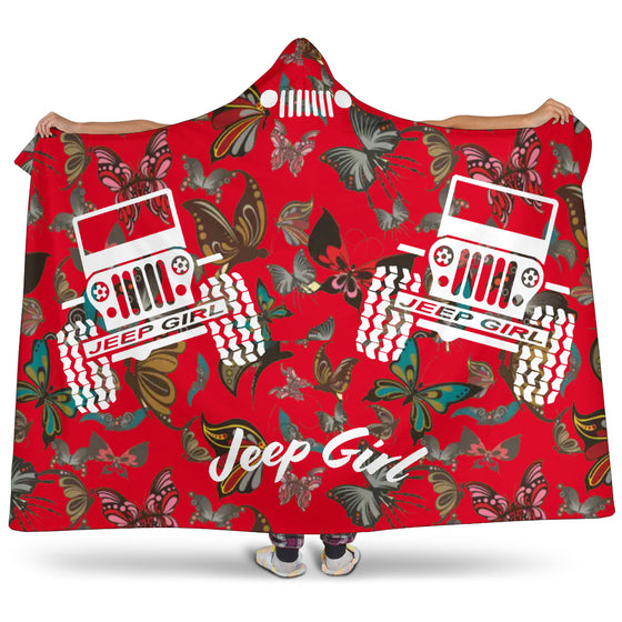Jeep Girl Hooded Blanket - Red Butterflies
