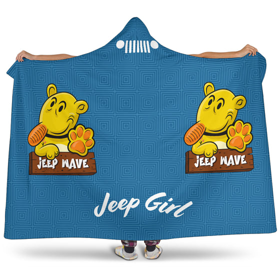 JeepGirl Hooded Blanket-Jeep Wave Blue Pattern