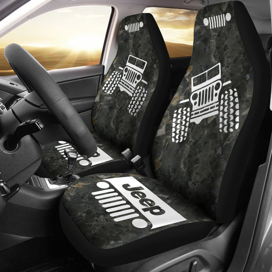 Jeep OffRoad - Car Seat Cover Black/White Marble