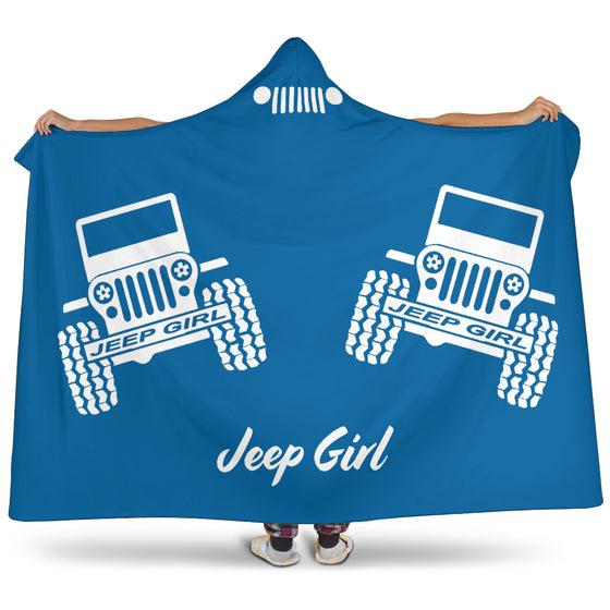 JeepGirl Offroad Text Hooded Blanket - White/Blue