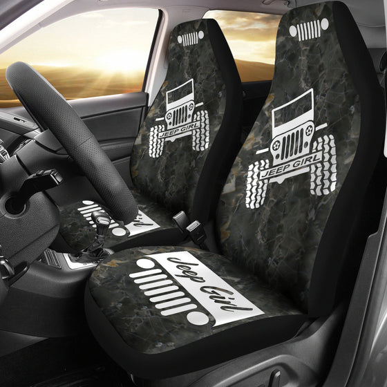 JeepGirl OffRoad - Car Seat Cover Black/White Marble
