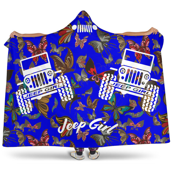 Jeep Girl Hooded Blanket - Blue Butterflies