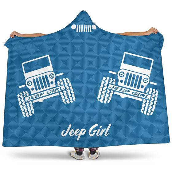 JeepGirl Offroad Text Hooded Blanket - White/Blue Patterned