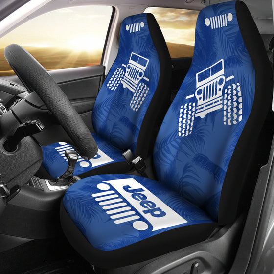 Jeep OffRoad - Seat Cover Blue/White Beach Palms