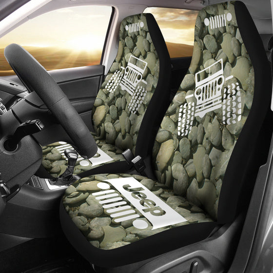 Jeep OffRoad - Car Seat Cover DrabOlive/White Stones 2