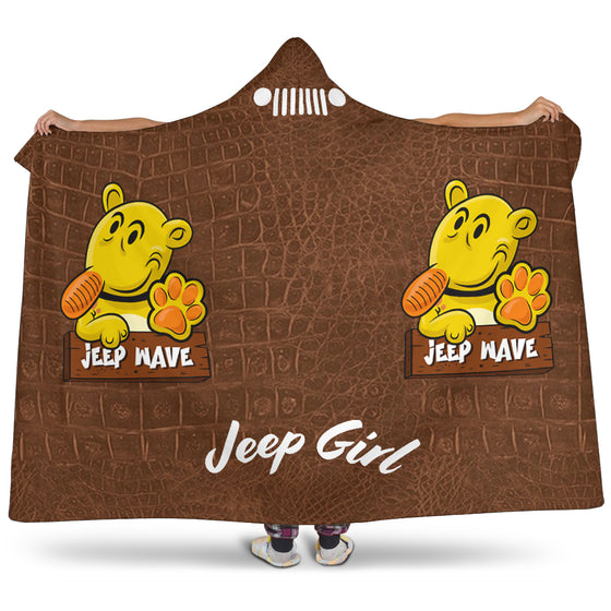 JeepGirl Hooded Blanket - Jeep Wave -Brown Leather