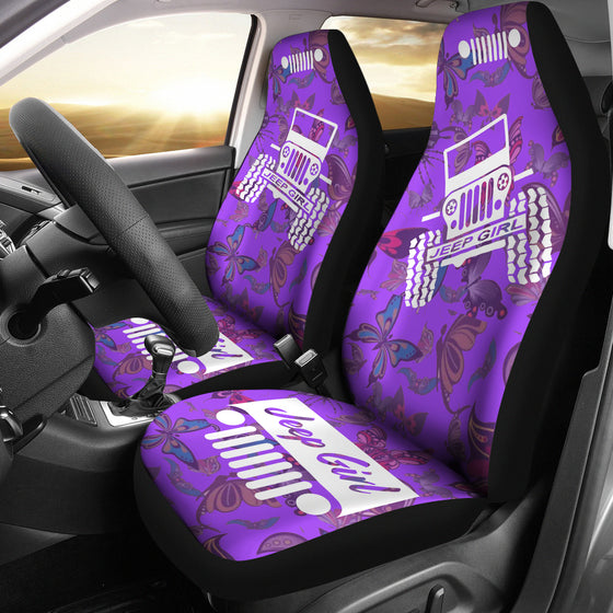 JeepGirl OffRoad - Seat Cover Violet/White Butterflies