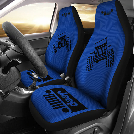 Jeep Grill - Seat Cover - Air Force Blue -Patterned Black