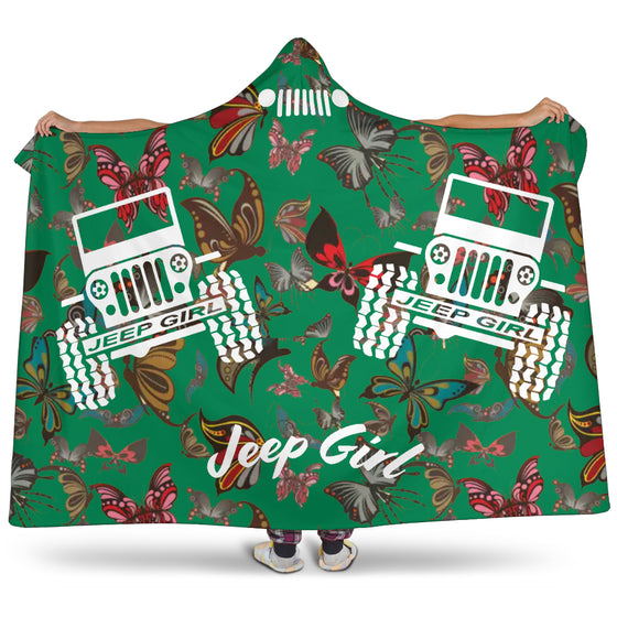 Jeep Girl Hooded Blanket - Green Butterflies