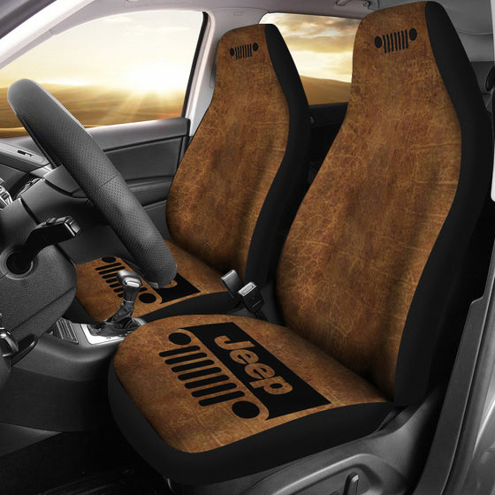 Jeep Grill Seat Cover - Brown Leather Look