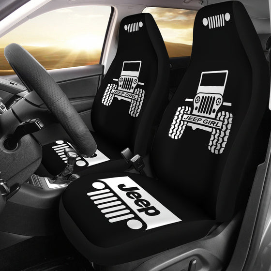 Jeep Girl Grill - Car Seat Cover White/Black