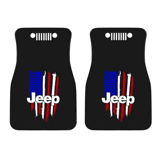 Jeep Front Mat - Distressed Flag/WhiteGrill