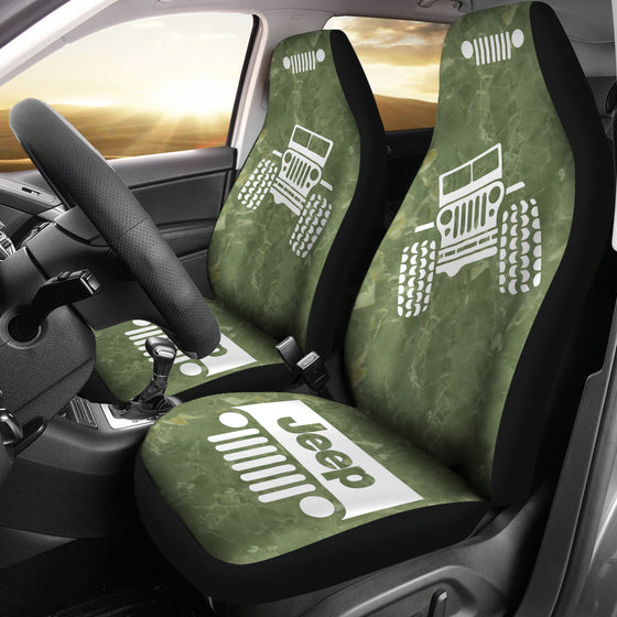 Jeep OffRoad - Car Seat Cover OliveDrab/White Marble
