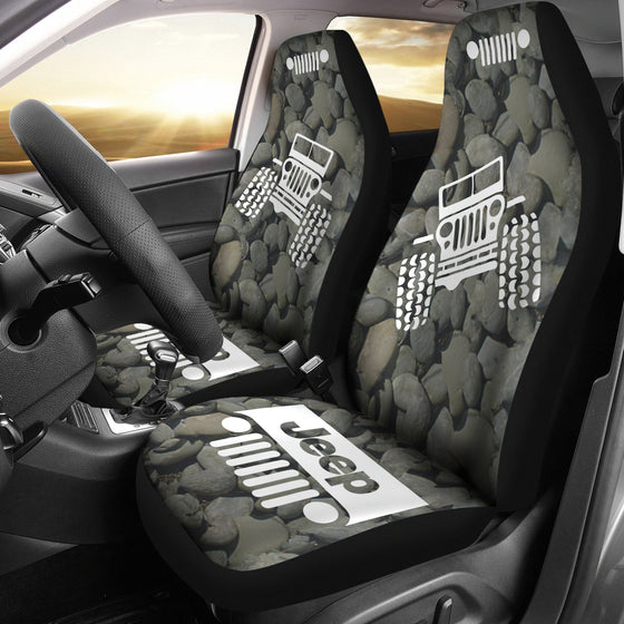 Jeep OffRoad - Car Seat Cover Tungsten/White Stones
