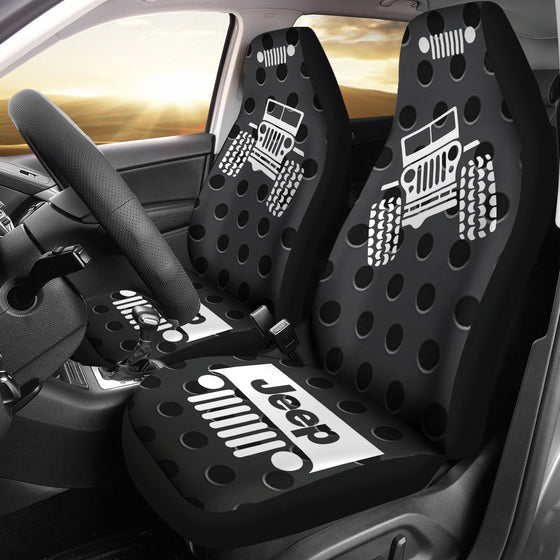 Jeep OffRoad - Seat Cover Gray/White Metal Holes